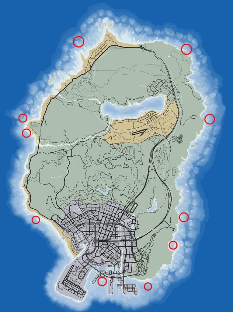 Подробная карта скрытых пакетов в GTA 5