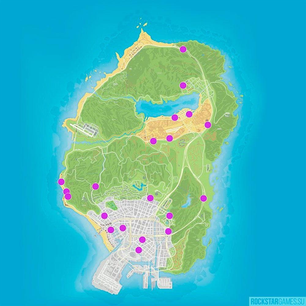 Карта магазинов для ограбления в ГТА 5