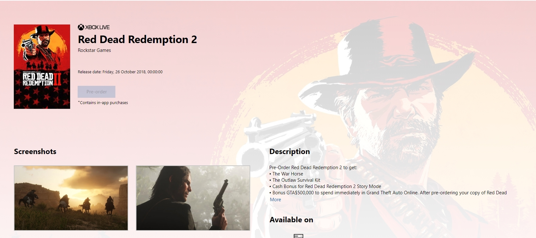 Бонусы за предзаказ Red Dead Redemption 2 на Xbox One и Xbox