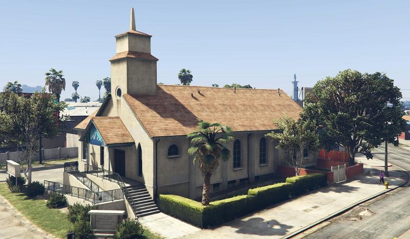 церковь с пальмой
