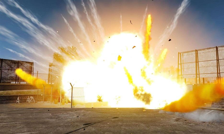 мощный взрыв