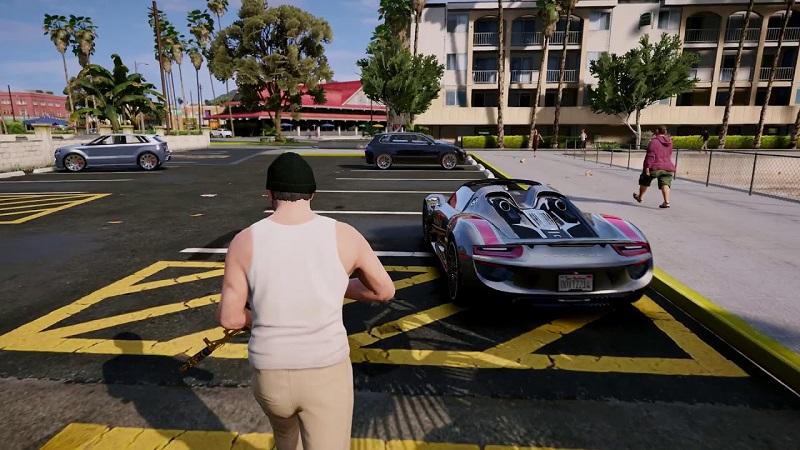 бежать по парковке